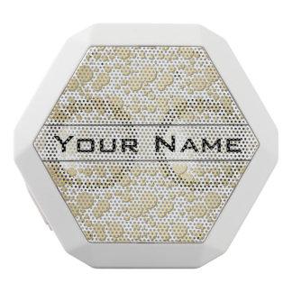 Golden Blobs, Splatters Pattern, Elegant, Stylish White Boombot Rex Bluetooth Speaker