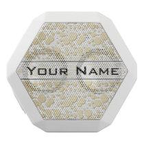 Golden Blobs, Splatters Pattern, Elegant, Stylish White Bluetooth Speaker