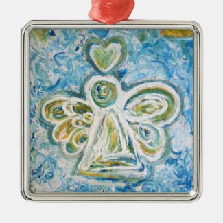 Golden Blue Angel Art Holiday Gift Ornaments