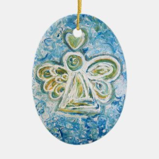 Golden Blue Angel Art Holiday Ornaments