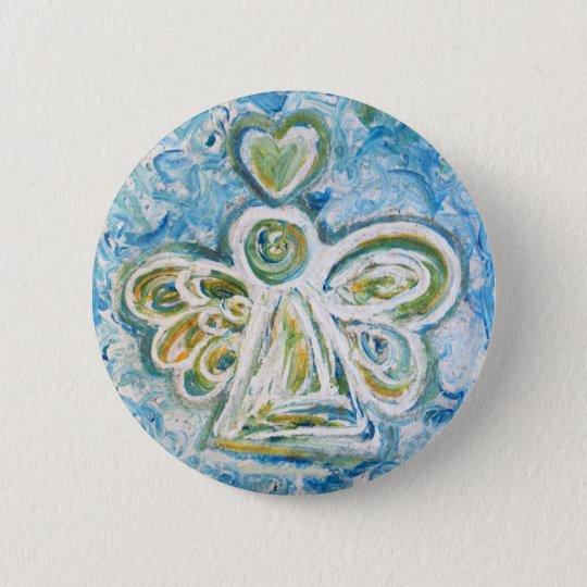 Golden Blue Angel Button