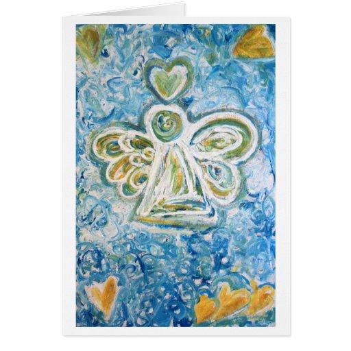 Golden Blue Angel Greeting Card