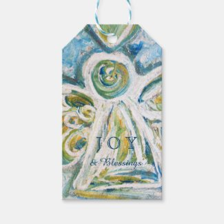 Golden Blue Angel Holiday Joy Custom Gift Tags