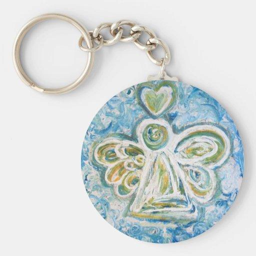 Golden Blue Angel Keychain