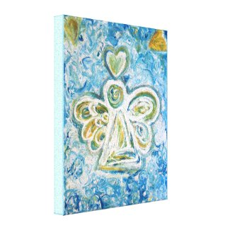Golden Blue Angel Painting Wrapped Canvas Art