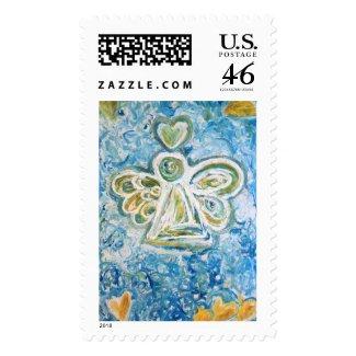 Golden Blue Angel Postage Stamp stamp