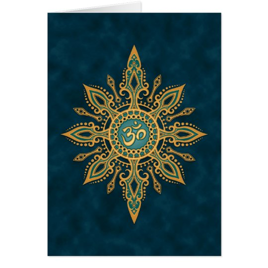Golden Blue Aum Star Card