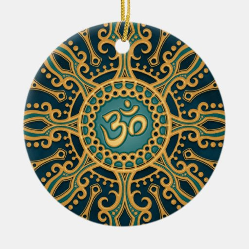 Golden Blue Aum Star Double-Sided Ceramic Round Christmas Ornament