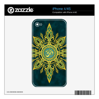 Golden Blue Aum Star Skin For iPhone 4S