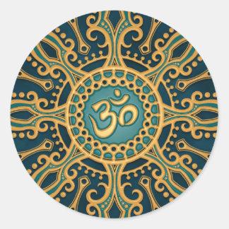 Golden Blue Aum Star Round Stickers