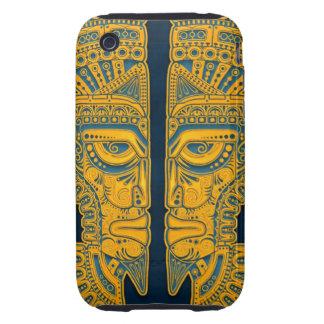 Golden Blue Aztec Twins Tough iPhone 3 Cases