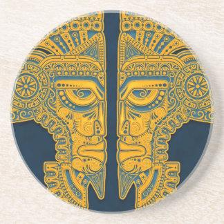 Golden Blue Aztec Twins Drink Coaster