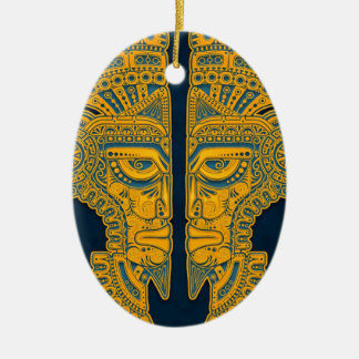 Golden Blue Aztec Twins Double-Sided Oval Ceramic Christmas Ornament
