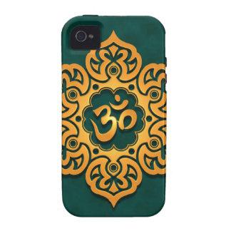 Golden Blue Floral Om Design Case-Mate iPhone 4 Cases