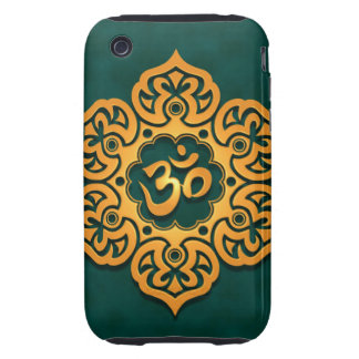 Golden Blue Floral Om Design Tough iPhone 3 Covers