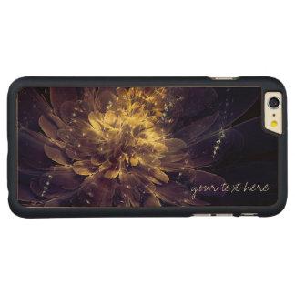 Golden Blue Flower Custom iPhone 6 Plus Wood Cases