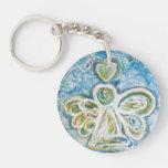 Golden Blue Guardian Angel Custom Keychain Round Acrylic Keychain