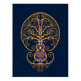 Golden Blue Guitar Tree of Life Post Card