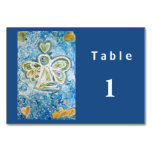 Golden Blue Inspirational Angel Custom Table Cards