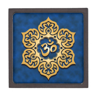 Golden Blue Lotus Flower Om Jewelry Box