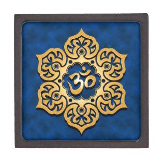 Golden Blue Lotus Flower Om Jewelry Box
