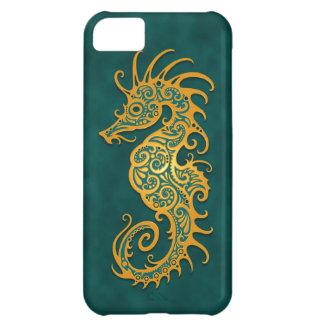 Golden Blue Tribal Seahorse iPhone 5C Case