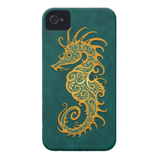 Golden Blue Tribal Seahorse Case-Mate iPhone 4 Case
