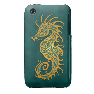 Golden Blue Tribal Seahorse iPhone 3 Case-Mate Case