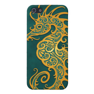 Golden Blue Tribal Seahorse Case For iPhone 5