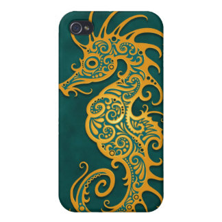 Golden Blue Tribal Seahorse iPhone 4 Cover