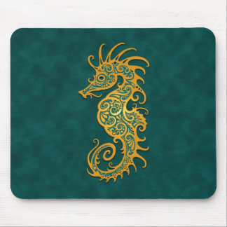 Golden Blue Tribal Seahorse Mouse Pad