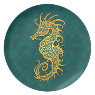 Golden Blue Tribal Seahorse Plate