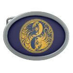 Golden Blue Yin Yang Cats Belt Buckle