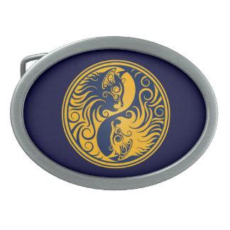 Golden Blue Yin Yang Cats Oval Belt Buckle