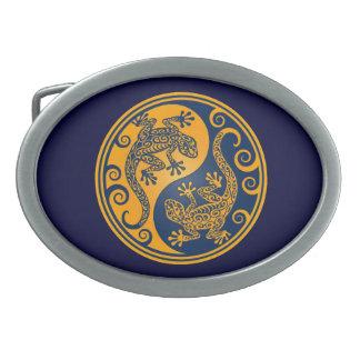 Golden Blue Yin Yang Lizards Oval Belt Buckle