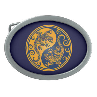 Golden Blue Yin Yang Lizards Belt Buckle