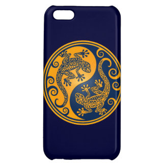 Golden Blue Yin Yang Lizards Cover For iPhone 5C