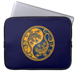 Golden Blue Yin Yang Lizards Laptop Computer Sleeve