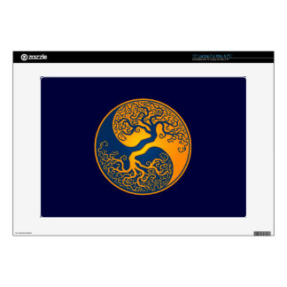 "Golden BlueTree of Life Yin Yang Decal For 15"" Laptop"