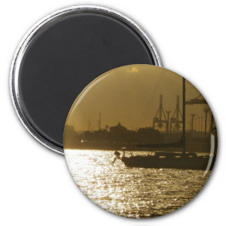 Golden Boat Light Refrigerator Magnets