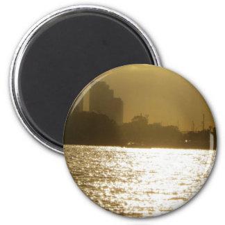 Golden Boat Light Refrigerator Magnet