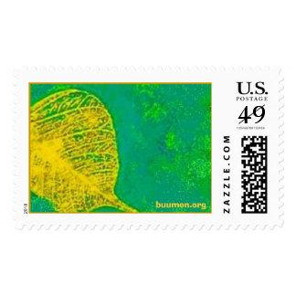 Golden Bodhi leaf on a azure jade background Postage Stamps
