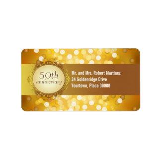 Golden Bokeh 50th Anniversary Address Label