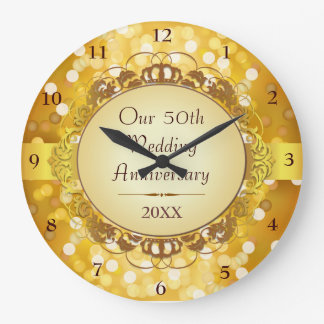 Golden Bokeh 50th Anniversary Wall Clock