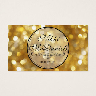 Golden Bokeh Hairstylist Business Card Templates
