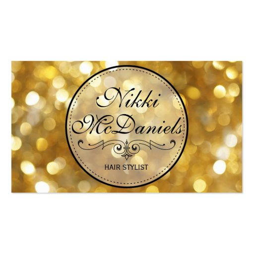 Golden Bokeh Hairstylist Business Card Templates
