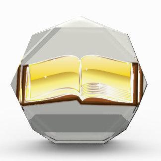 Golden book bible magic light shining glossy acrylic award