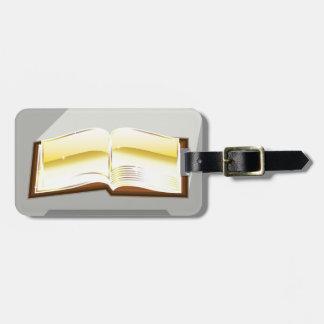 Golden book bible magic light shining glossy bag tag