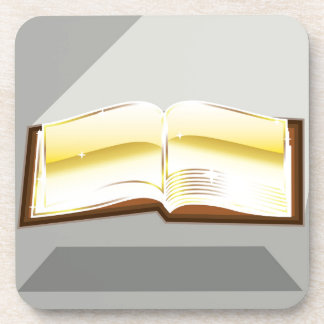 Golden book bible magic light shining glossy coaster