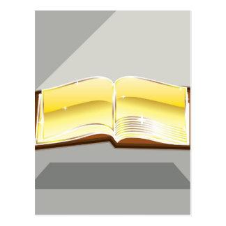 Golden book bible magic light shining glossy postcard